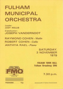 Fulham Municipal Orchestra Programme 3 November 1979