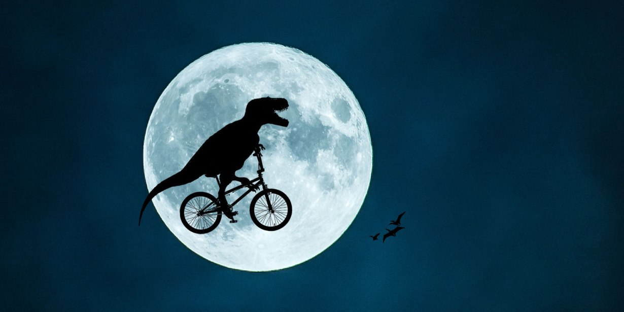 T. Rex cycling in front of the Moon